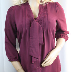 Wine Red Cami and Sheer Blouse with Tie
